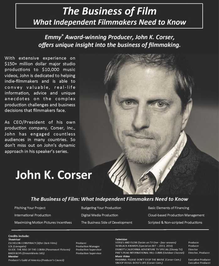 2014 West Virginia Filmmakers Festival Guest: John Corser, Producer (Poster)